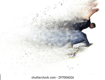 abstract pixelated design of a Boy practicing  and jumping skate in a park