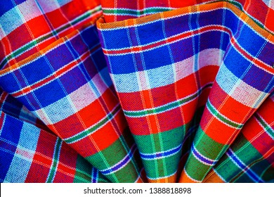Abstract plaid Texture Background of loincloth or Thai Bathing Cloth