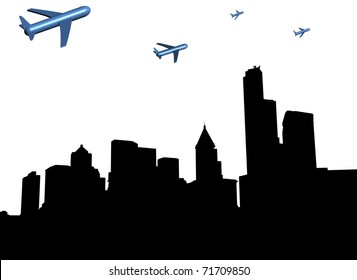 abstract planes departing Seattle illustration