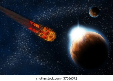Abstract planet with sun flare in deep space - star nebula against black background