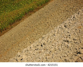 abstract of plowed land
