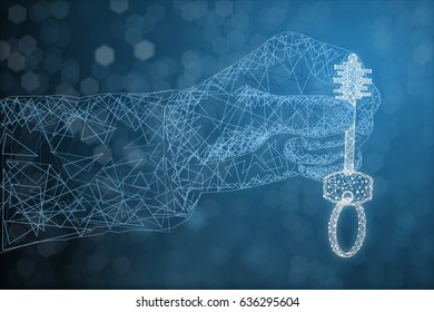 Abstract polygonal hand holding key on grey blue background. 3D Rendering
