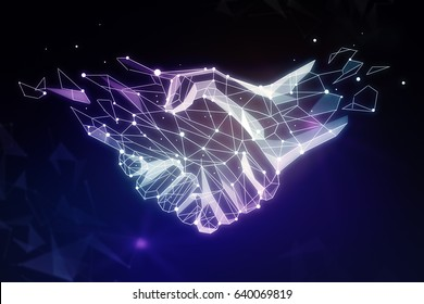 Abstract polygonal handshake on dark background. Teamwork concept. 3D Rendering