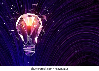 Abstract polygonal lamp on digital background. Idea and innovation concept. 3D Rendering