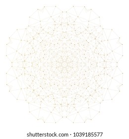 Abstract polygonal low poly backdrop with connecting dots and lines, golden mandala isolated on white background, connection structure. Digital or science design