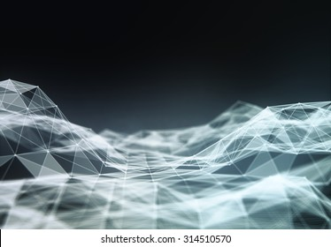 Abstract polygonal space low poly dark background with connecting dots and lines. Connection structure. Futuristic HUD background.
