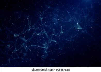 Abstract polygonal space low poly dark background with connecting dots and lines.