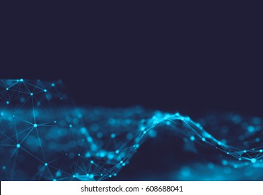 Abstract polygonal space low poly dark background with connecting dots and lines. Connection structure. Science. Futuristic polygonal background. Triangular. Wallpaper. Business