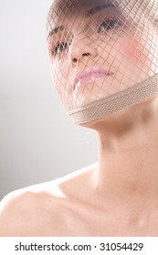 abstract portrait beautiful young woman. studio shot