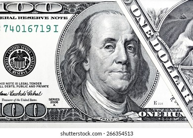 Abstract portrait of Benjamin Franklin from one hundred dollars bill.