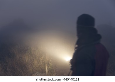 Abstract portrait man with flashlight in the fog walking through the mysterious forest in the fog