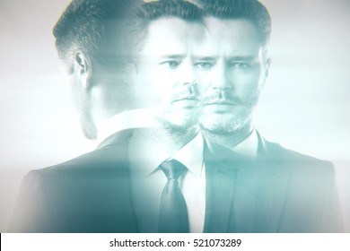 Abstract portrait of pensive young businessman on light background. Past, present and future concept. Double exposure