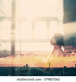 Abstract Portrait of Young Woman with Double Exposure Effect. Combined with Sunset Sky, Toned with Vintage Instagram Colors.