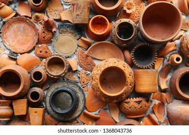 Abstract - Pottery thai or Brown Earthenware texture background - traditional style