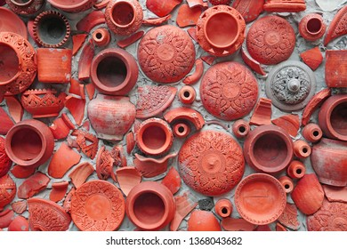 Abstract - Pottery thai or red pastel Earthenware texture background - traditional style