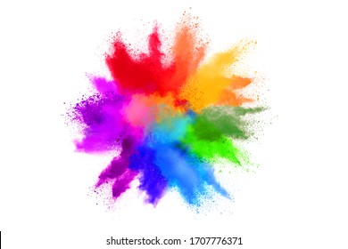Abstract powder splatted background. Colorful powder explosion on white background. Colored cloud. Colorful dust explode. Indian festival Holi
