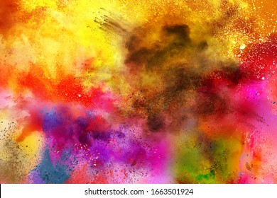 abstract powder splatted background. Multi-color powder explosion on white background. Colored cloud. Colorful dust explode. Paint Holi.