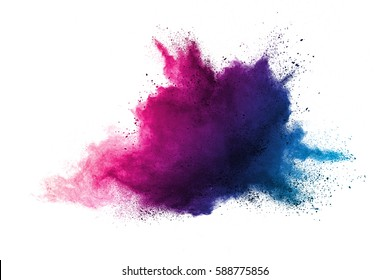 abstract powder splatted background. Red powder explosion on white background. Colored cloud. Colorful dust explode. Paint Holi.