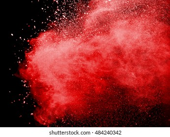 abstract powder splatted background,Freeze motion of red powder exploding/throwing red powder