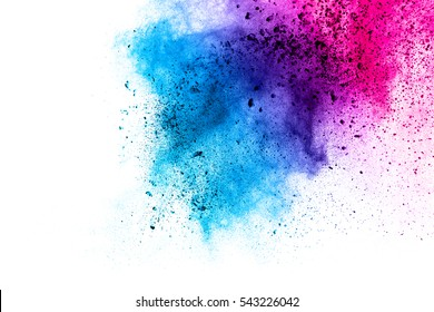 abstract powder splatted background,Freeze motion of color powder exploding/throwing color powder, multi color glitter texture on white background.