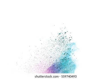abstract powder splatted background,Freeze motion of color powder exploding/throwing color powder,color glitter texture on white background