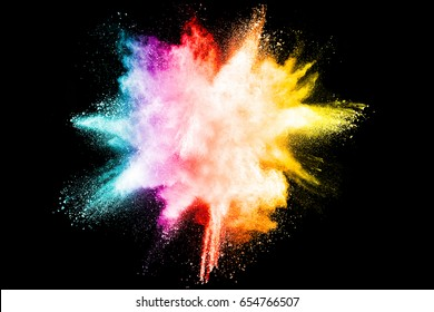 abstract powder splatted background,Freeze motion of color powder exploding/throwing color powder,color glitter texture on black background
