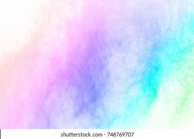 Abstract powder splatted background,Freeze motion of color powder exploding/throwing color powder, multicolor glitter texture.