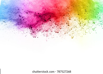 abstract powder splatted on white background,Freeze motion of color powder exploding/throwing color powder, multicolored glitter texture. holipowdercolorsplashexplosionpaintinkabstractbluebackgroundwh