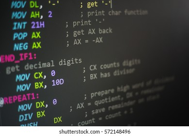 Abstract, Programming code, Computer screen Programming code abstract screen of software developer for beginner. Computer Language.