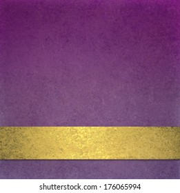 abstract purple background or website background design layout of elegant old vintage grunge background texture wall with blank luxury gold ribbon wrap on bottom frame for brochure ad or web template
