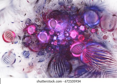 Abstract purple and blue textured bubbles on white background. Fantasy fractal design. Psychedelic digital art. 3D rendering.