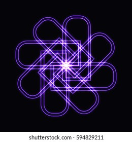 Abstract purple neon shape, futuristic wavy fractal of star and circle sign. Raster square or decorative element. Cool geometric illustration