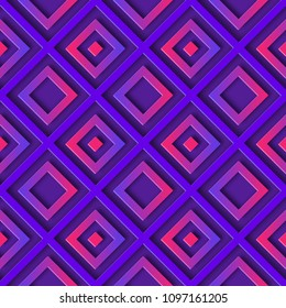 Abstract purple seamless geometric 3D pattern with gradient diamonds