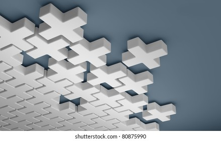 Abstract puzzle from crosses 3d background