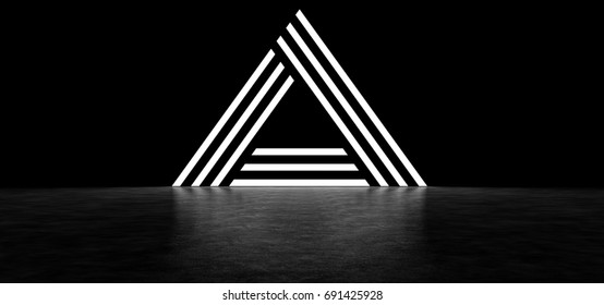 Abstract pyramid consisting of glowing stripes. 3D Render