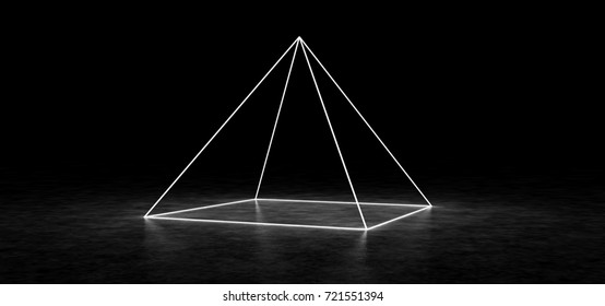 Abstract pyramid consisting of luminous lines. 3D Render