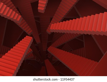 Abstract red 3d stair background