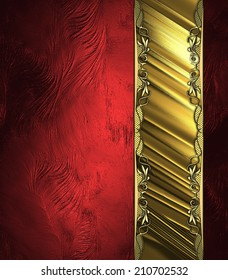 Abstract red background with gold cutout and gold ornament. Design template. Design site