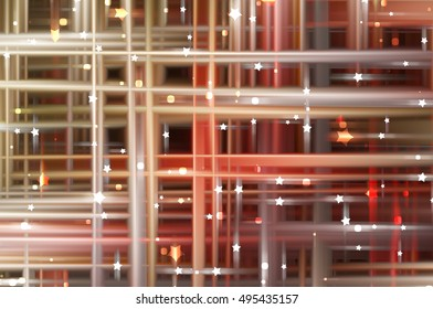 Abstract red background with various color lines and strips. Shiny background. illustration technology.