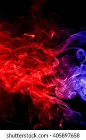 Abstract red and blue smoke on black background