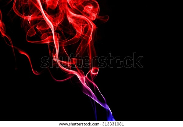 Abstract Red Blue Smoke On Black Stock Photo Edit Now