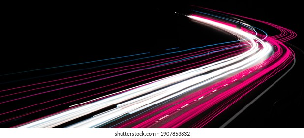 abstract red car lights at night. long exposure