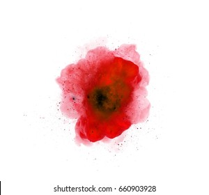 Abstract, red explosion of fire against white background
