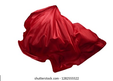 Abstract red flying fabric isolated on white background