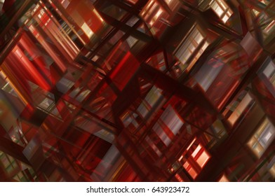 Abstract red fractal background with various color lines and strips. illustration technology.