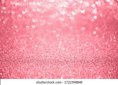 Abstract red glitter sparkle with heart bokeh light for Valentines background