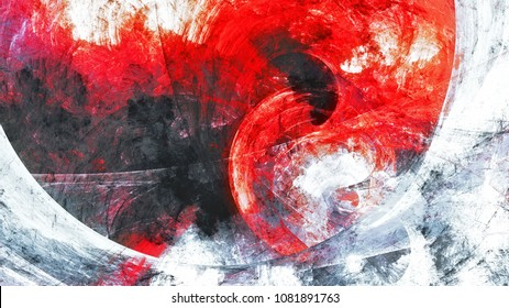 Abstract red and grey grunge motion composition. Modern bright futuristic dynamic background. Fractal art for creative graphic design