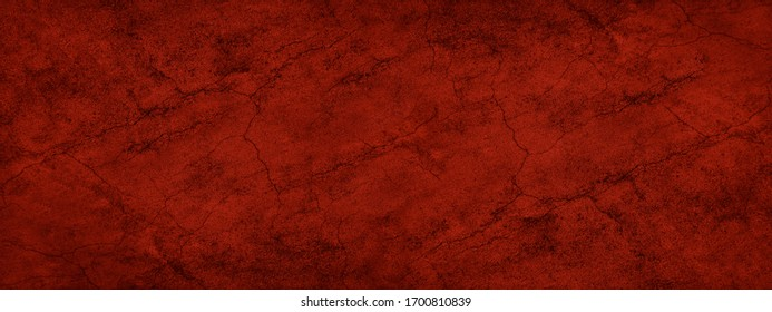 Abstract red grunge background. Dark red banner with old rough cracked asphalt texture.