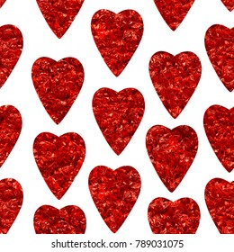 Abstract red hearts seamless pattern. Print of red heart shaped. Happy Valentines Day 14th february poster. Can be used for wallpaper, pattern fills, surface foil textures.