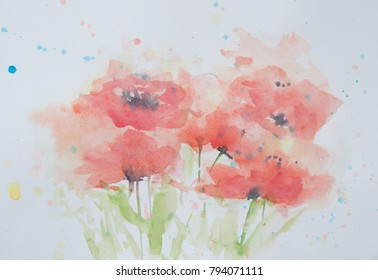 Abstract red poppy flower , watercolor hand paintd